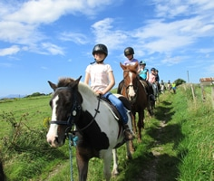Pony riders on country lane
