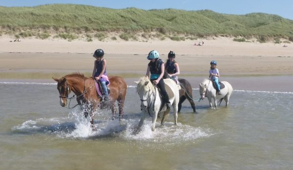Pony riders splashing in the sea
